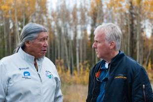 A Dene elder, Francois Paulette (left) talks with James Cameron, Director of the environmental blockbuster Avatar.